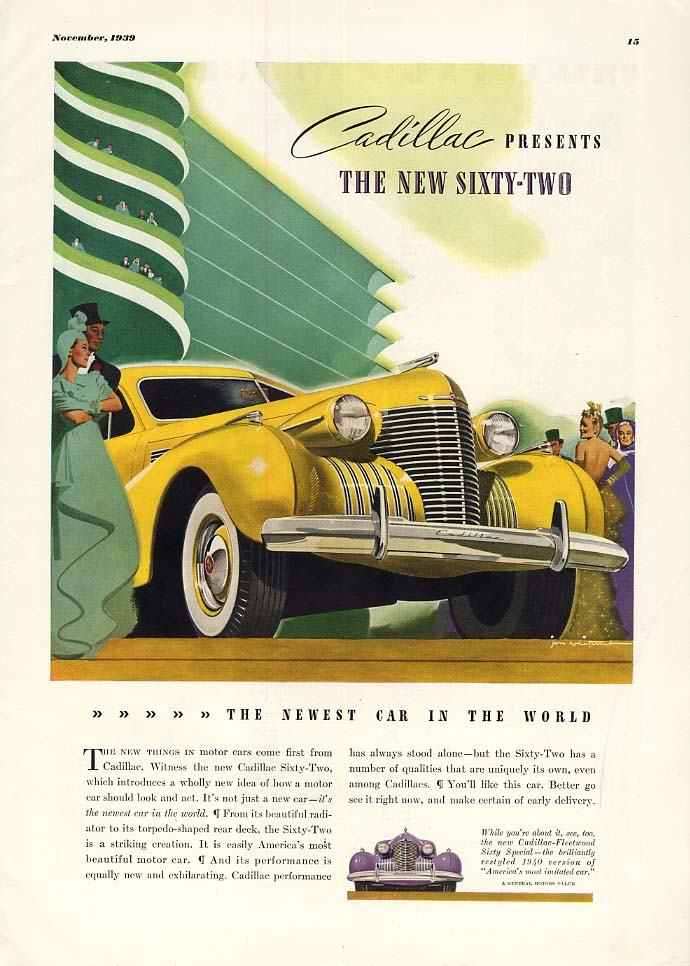Cadillac presents the new Sixty-Two newest car in the world ad 1940 ESQ