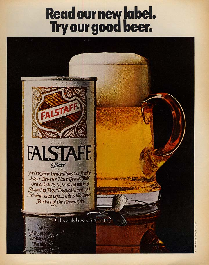 Read our new label Try our good beer Falstaff Beer ad 1969 LK