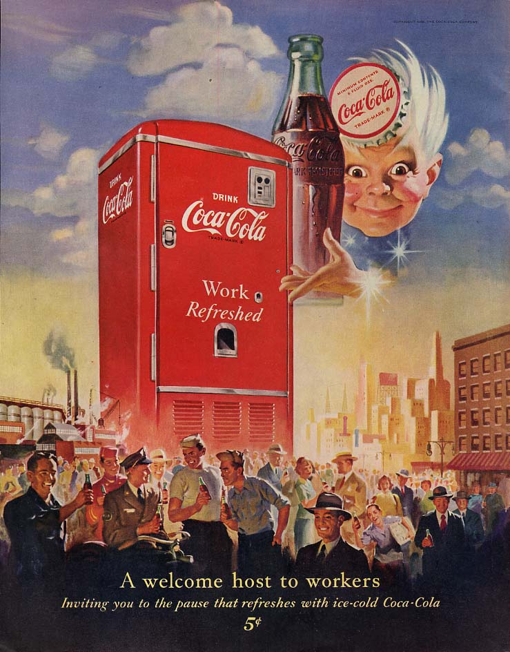A welcome host to workers Coca-Cola / Gene Tierney for Chesterfield ad 1950