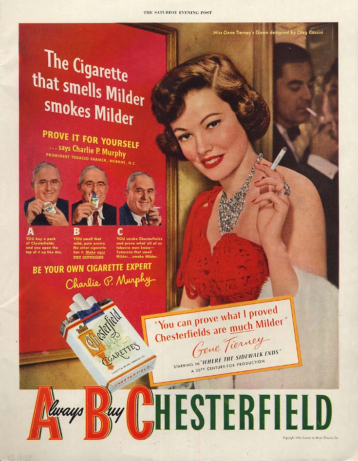 Image for A welcome host to workers Coca-Cola / Gene Tierney for Chesterfield ad 1950