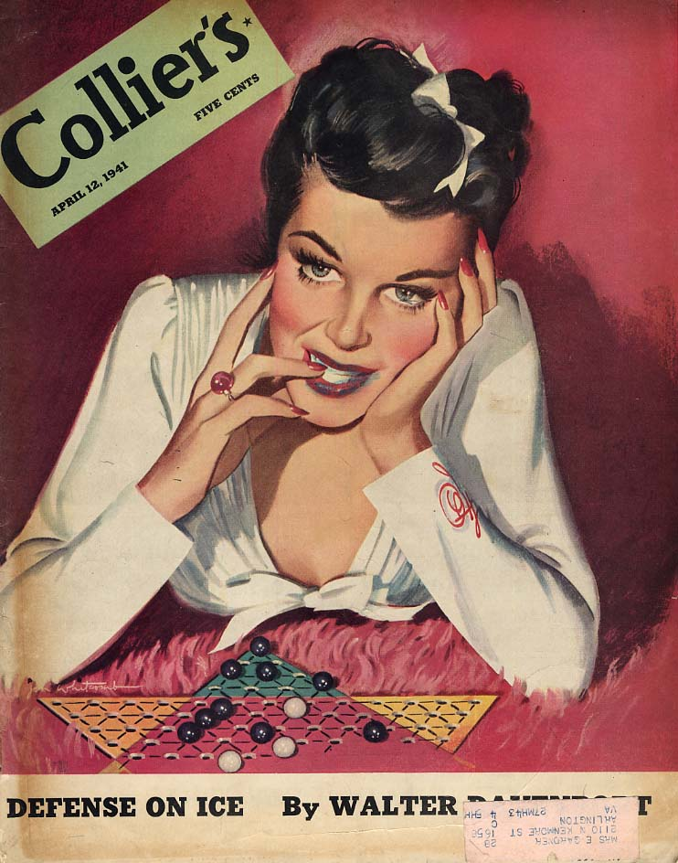 COLLIER'S COVER 1941 pretty girl plays Chinese chekers by Jon Whitcomb