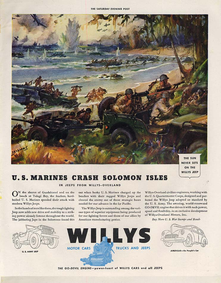 Image for US Marines crash Solomon Isles - Willys Jeep ad 1942