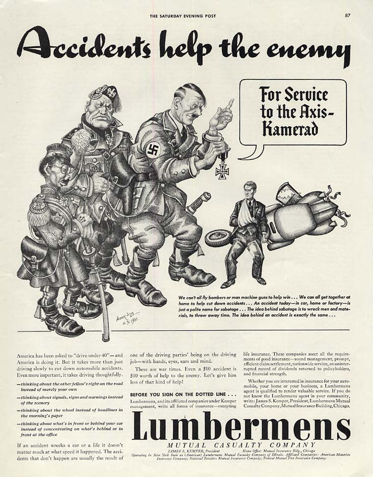 Accidents help the enemy Lumbermans Insurance ad 1942 Arthur Szyk vs Axis Powers