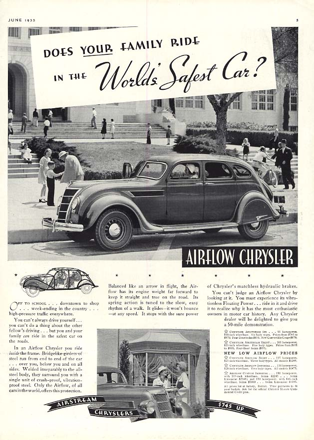 Image for Does YOUR family ride in the World's Safest Car! Chrysler Airflow ad 1935
