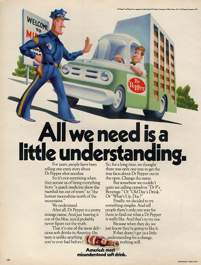 All we need is a little understanding Dr Pepper ad 1971