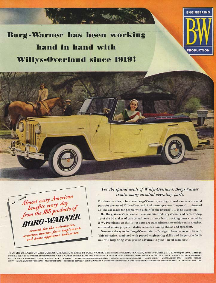 Image for Borg-Warner has been working with Willys-Overland Jeepster ad 1949 SEP