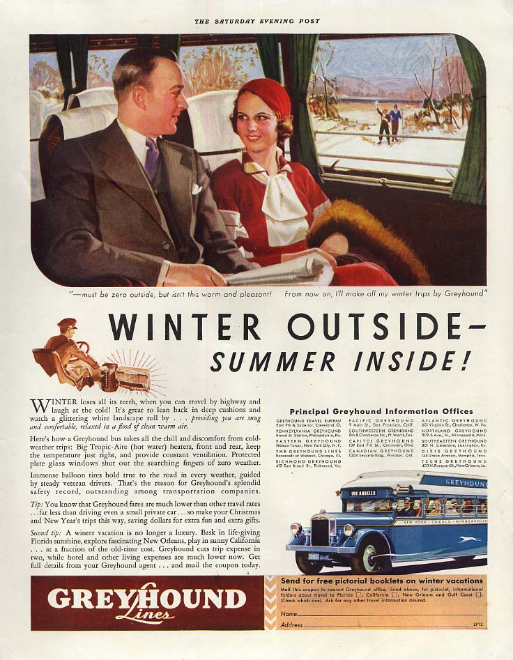 Image for Winter outside - Summer inside! Greyhound Bus ad 1933 SEP