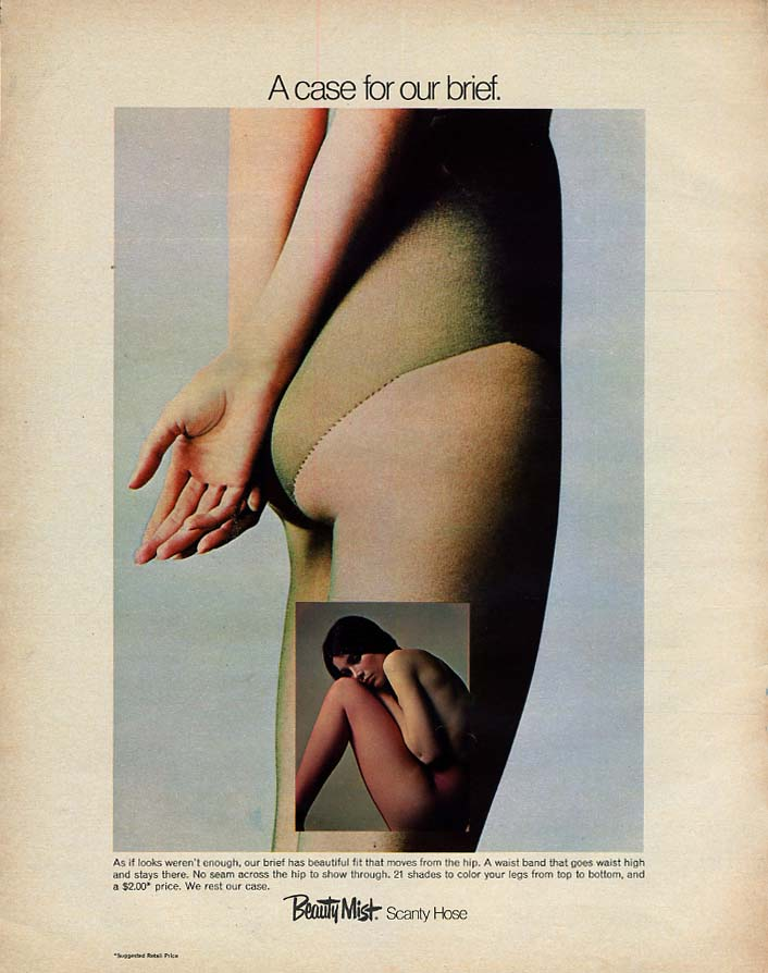 A case for our brief Beauty Mist Scanty Hose pantyhose ad 1970