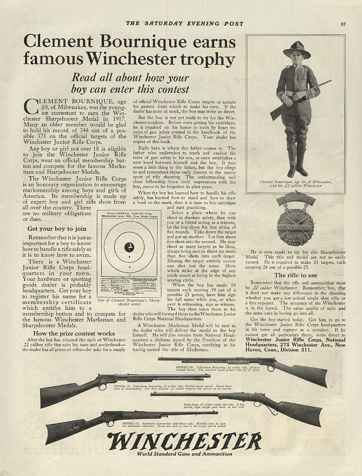 Clement Bournigue, age 10, earns Winchester Trophy for marksmanship ad 1918 SEP