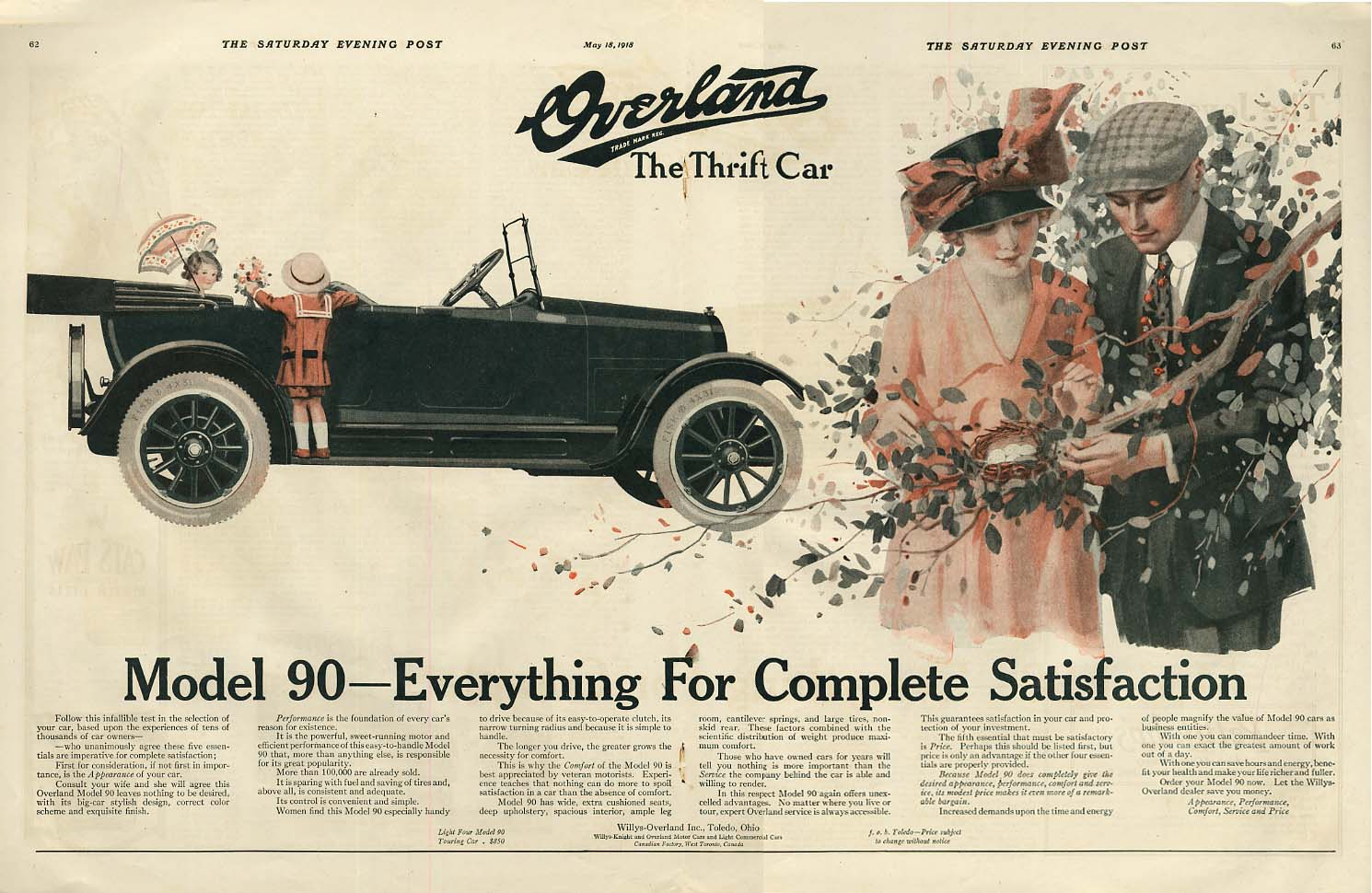 Image for Overland Model 90 Touring Car Everything For Complete Satisfaction ad 1918 SEP