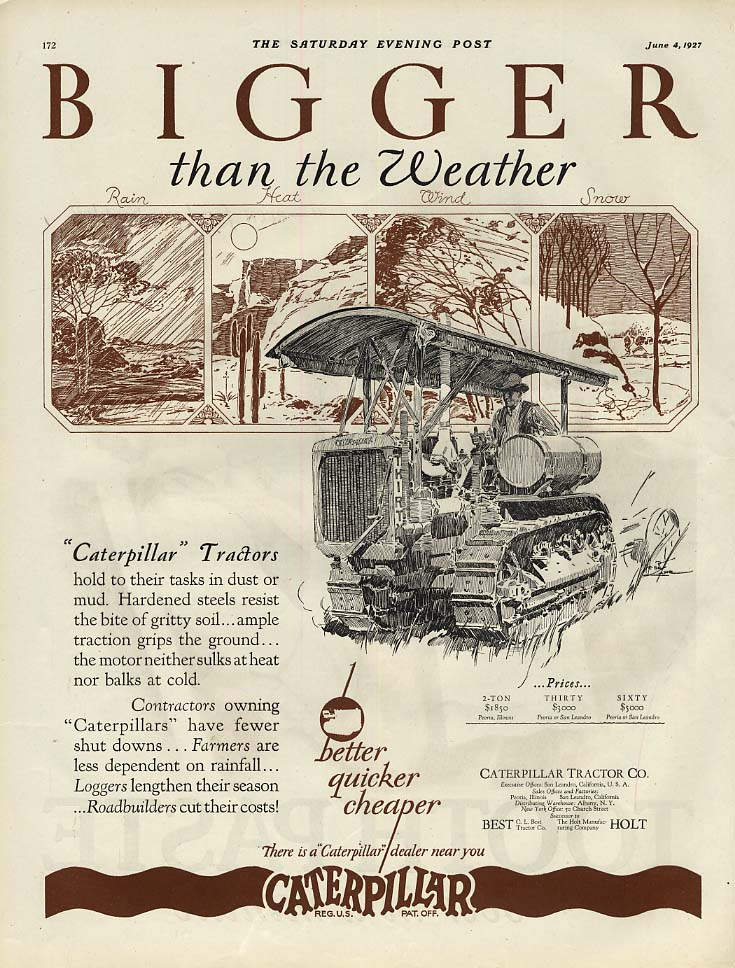 Bigger than the Weather - Caterpillar Tractors ad 1927 SEP