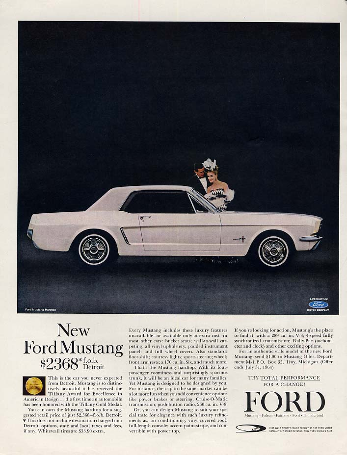 New Ford Mustang $2368 FOB Detroit ad 1964 H