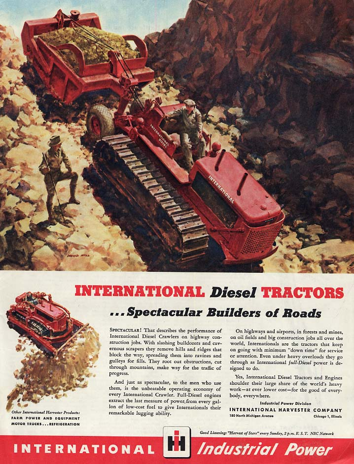 Image for Spectacular Builders of Roads - International Diesel Tractors ad 1946 Col
