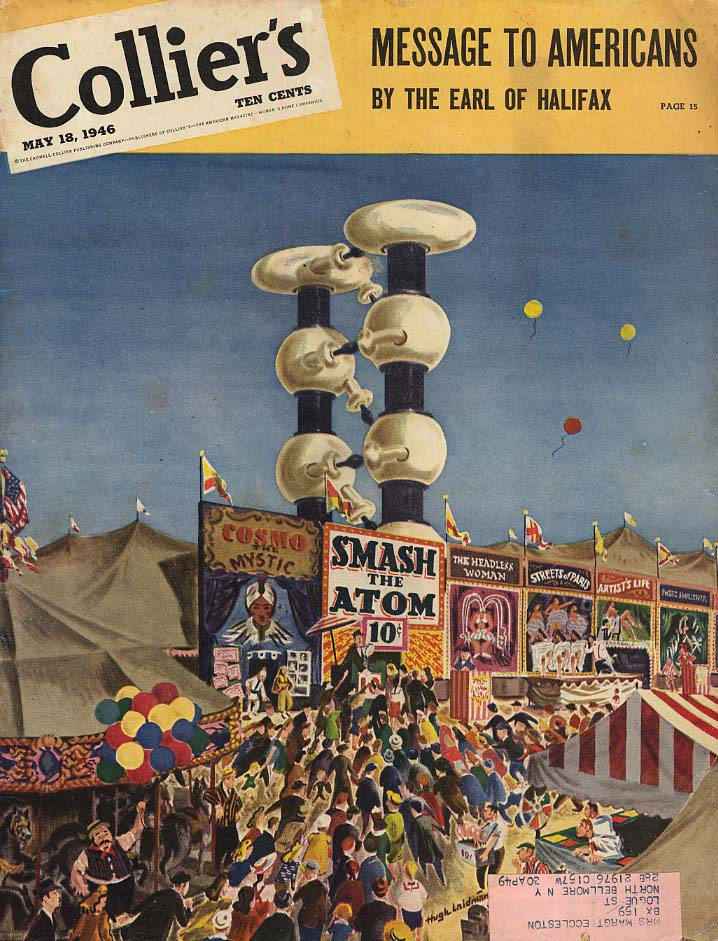 COLLIER'S COVER 1946 Smash the Atom circus sideshow act by Laidman