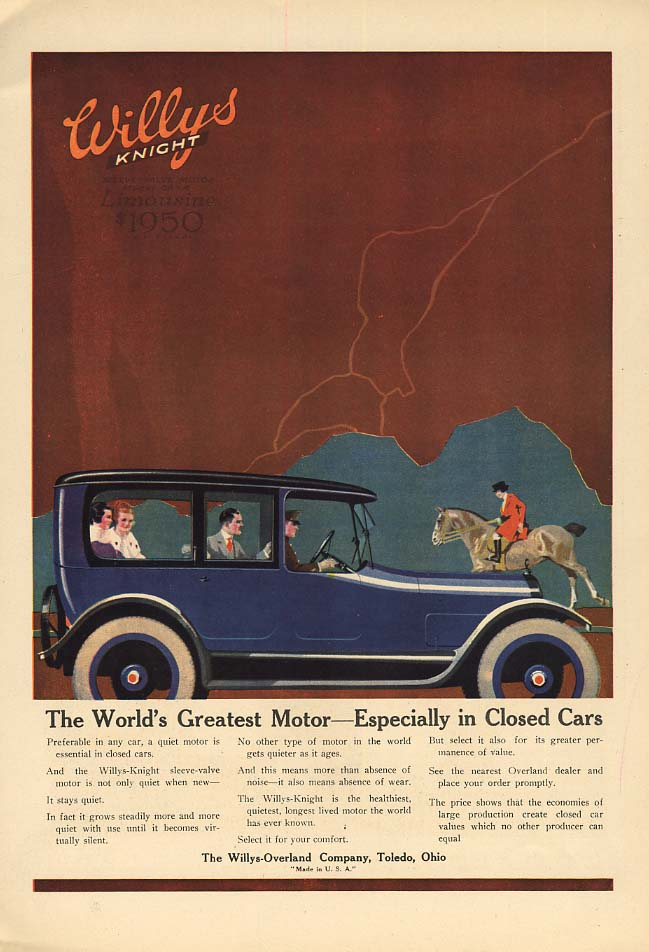 Image for World's Greatest Motor Especially in Closed Cars Willys Knight Limousine ad 1917