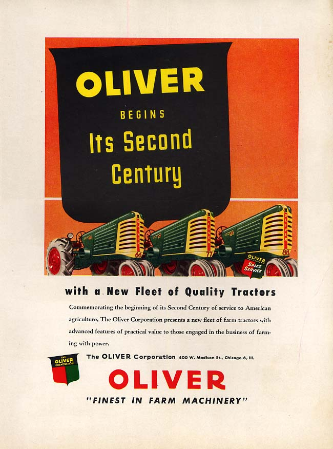 Image for Oliver begins its Second Century with a new fleet of Quality Tractors ad 1948 FQ