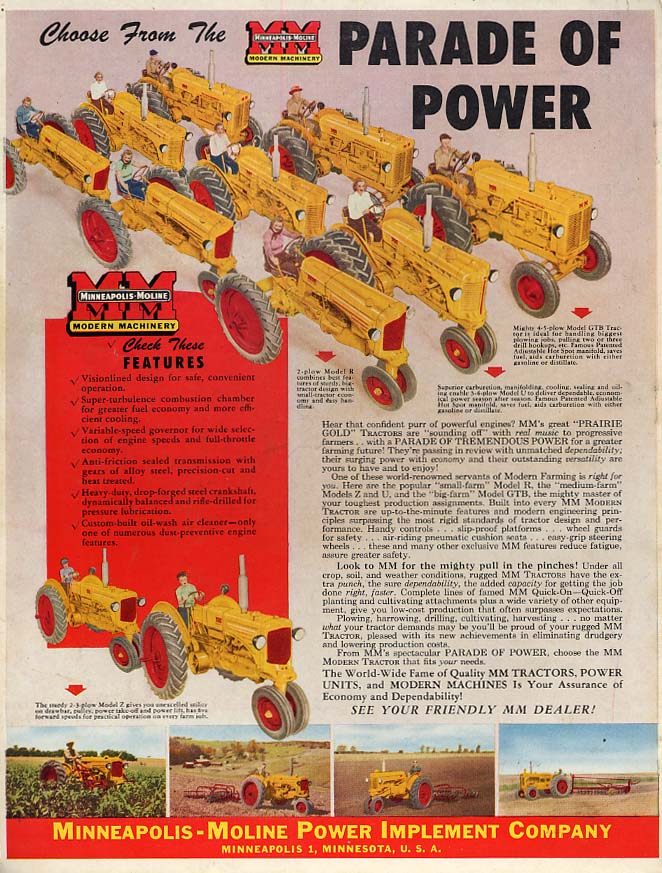 Choose from the Minneapolis-Moline Parade of Power Tractors ad 1948 FQ