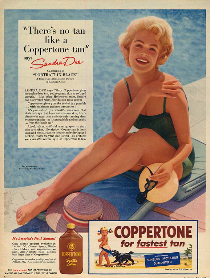 Image for Sandra Dee says There's no tan like a Coppertone tan ad 1960 17