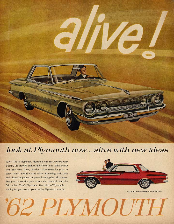 Alive! Look at Plymouth Fury foor-door hardtop ad 1962 Canada