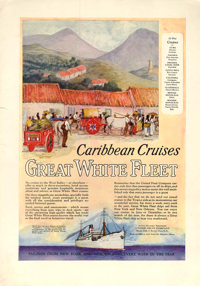 Image for 23-day Caribbean Cruises - Great White Fleet United Fruit Company ad 1924 CL