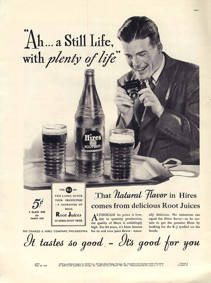 Ah a Still Life with plenty of life Hires Root Beer ad 1937 L