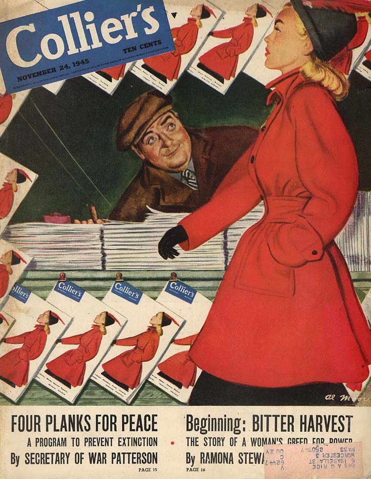 COLLIER'S COVER 1945 Cover girl walks by newsstand by Al Moore