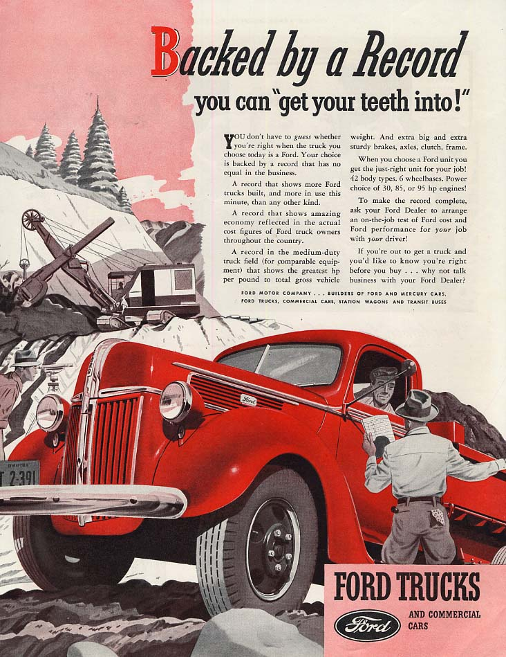 Backed by a Record you can get your teeth into Ford Dump Truck ad 1941 SEP
