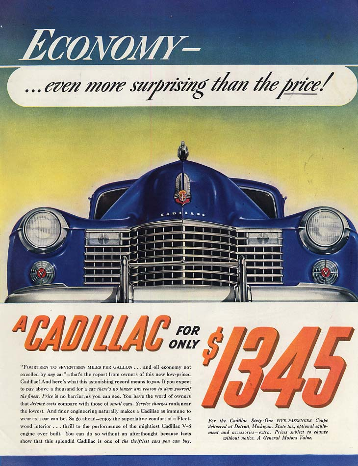 Economy even more surprising than the price! Cadillac for $1345 ad 1941 SEP