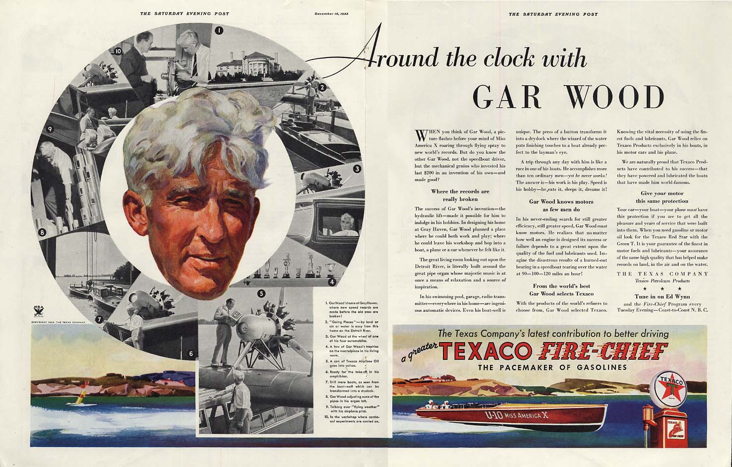Around the clock with Gar Wood U-10 Miss America X Texaco Gasoline ad 1933 SEP