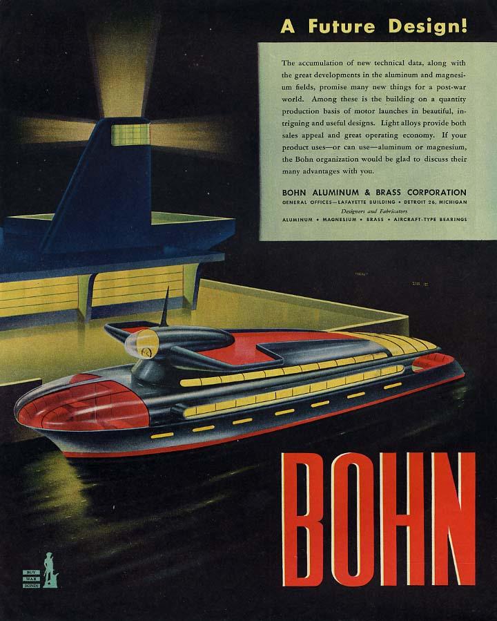 A Future Design! Bohn Motor Launch design ad 1945 L
