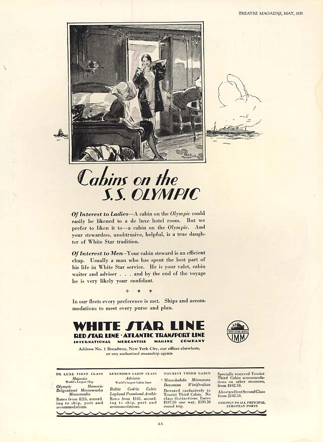 Cabins for men & women on the White Star Line S S Olympic ad 1928 Th