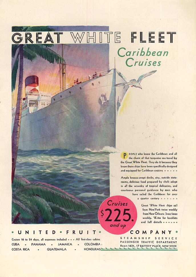 Caribbean Cruises on the Great White Fleet United Fruit Company ad 1930 CL