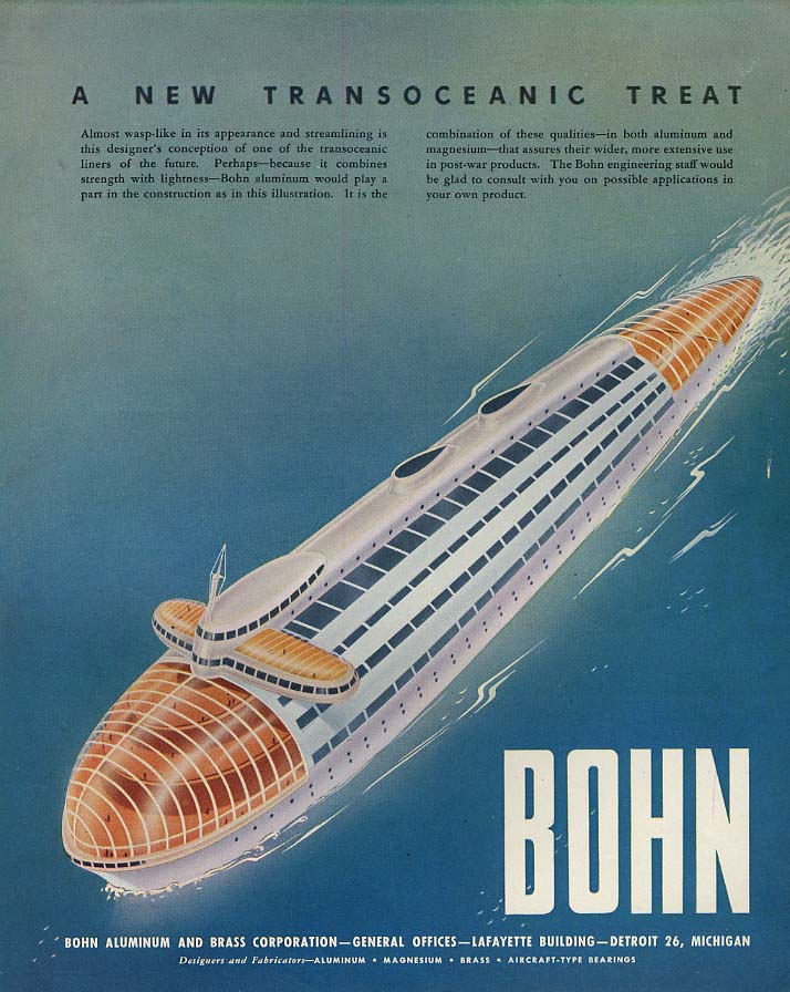 A New Transoceanic Treat futuristic ocean liner Bohn Ad 1946 F