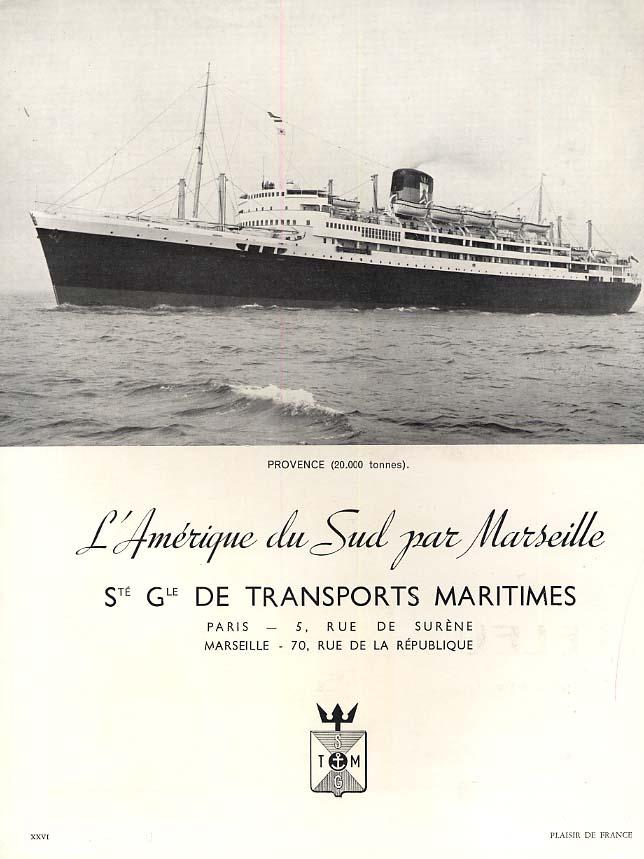 L'Amerique du Sud par Marseille - S S Provence ad 1951 PDF