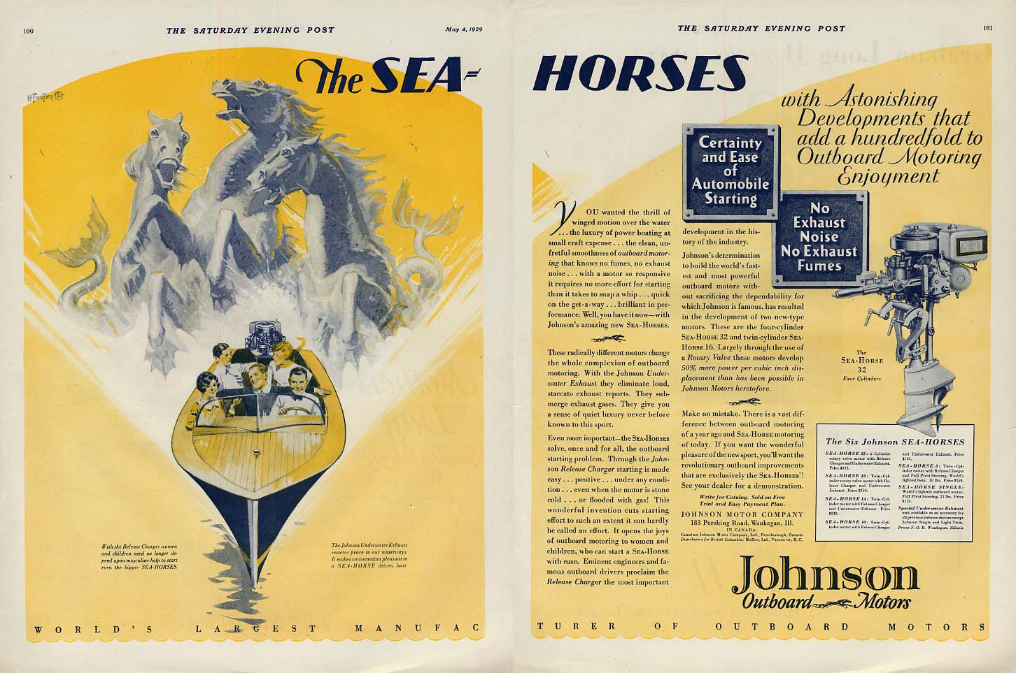 Astonishing Develpements add a hundredfold Johnson Sea Horse Outboards ad 1929 P