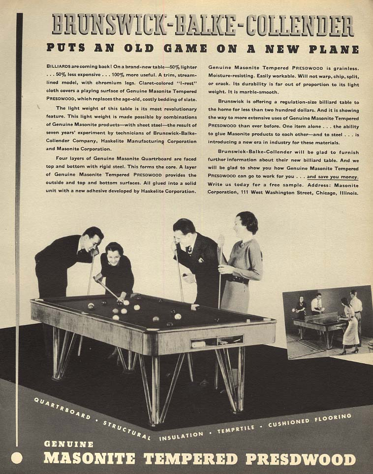 Brunswick-Balke-Collender puts an billiards on a new plane Masonite ad 1935 F