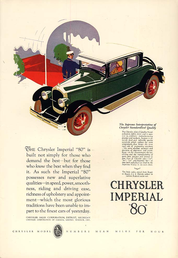 Image for Built not simply for those who demand the best Chrysler Imperial 80 ad 1927 T&C