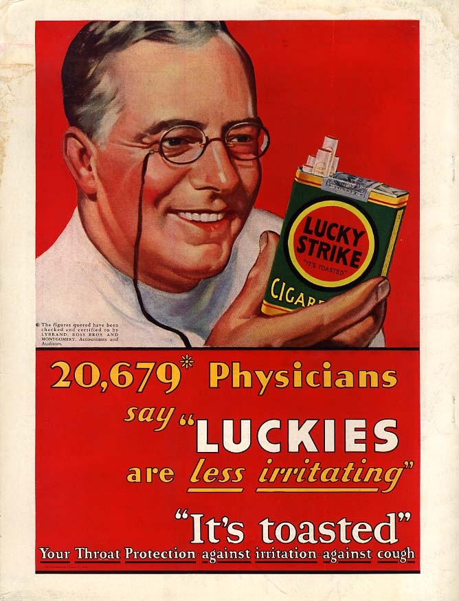 20,679 physicians say Lucky Strike Cigarettes are less irritating ad 1930 H&G