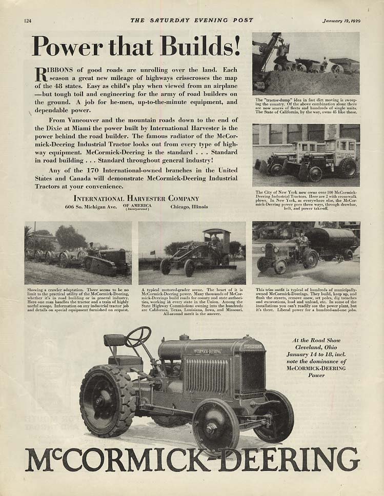Image for Power that Builds! International Harvester McCormick-Deering Tractor ad 1929 SEP