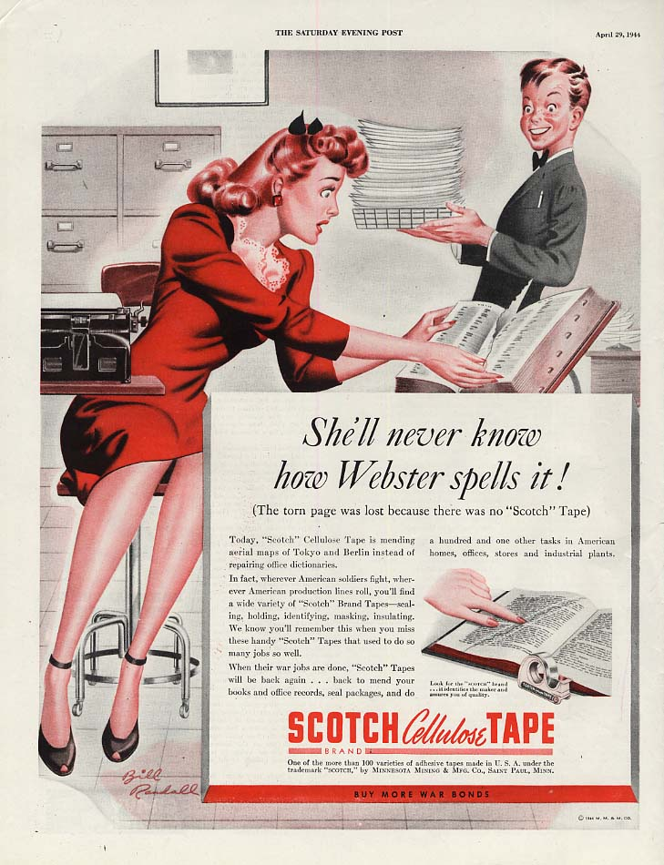 She'll never know how Webster spells it Scotch Tape ad 1944 Bill Randall pin-up