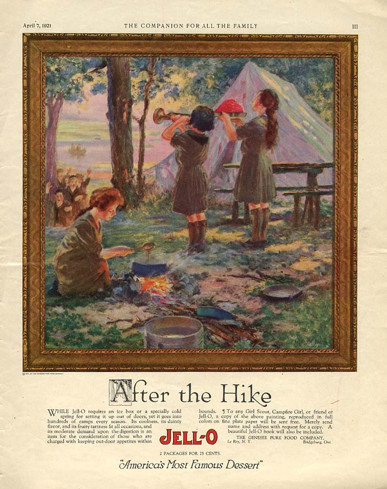 After the Hike - Girl Scouts campout Jell-O ad 1921