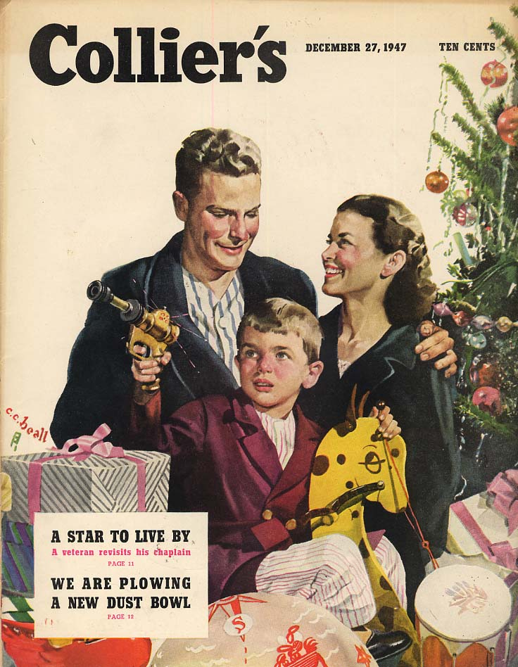 COLLIER'S COVER 12/27 1947 Kid gets space ray gun for Christmas by Beall