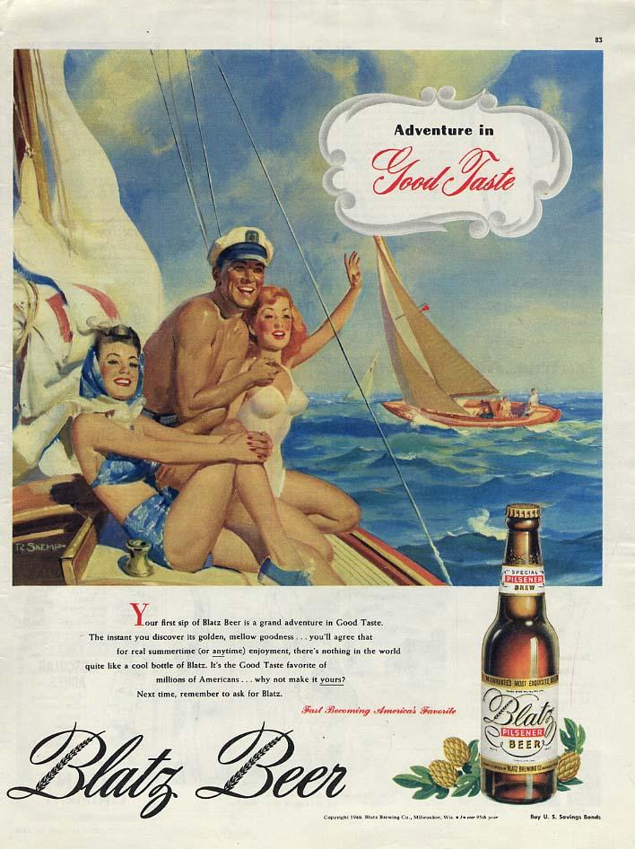 Adventure in Good Taste - Blatz Beer ad 1946 R Skemp swimsuit gals sailing