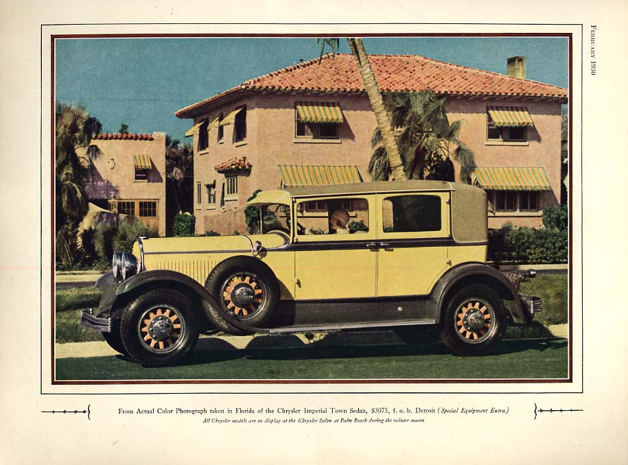 Image for Chrysler Imperial Town Sedan in Florida ad 1930 SP
