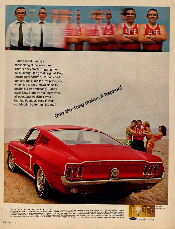 Sidney spent Sundays seashelling - Only Mustang Fastback makes it happen ad 1968