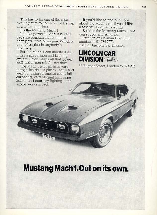 Image for Out on its own Ford Mustang I ad 1971