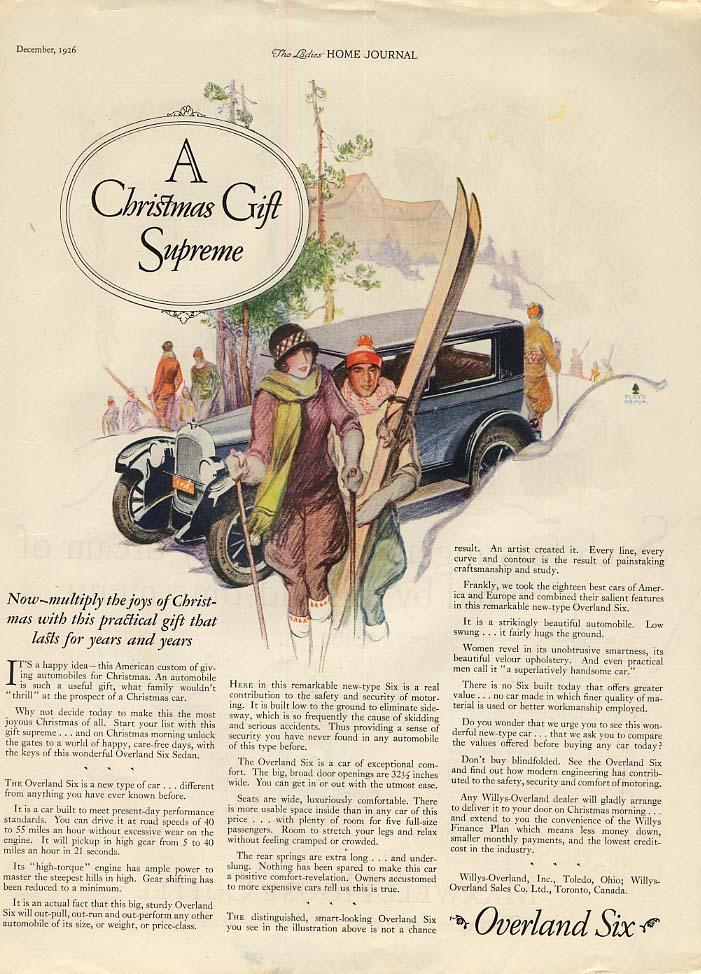 A Christmas Gift Supreme Overland Six ad 1927 skiing motif LHJ