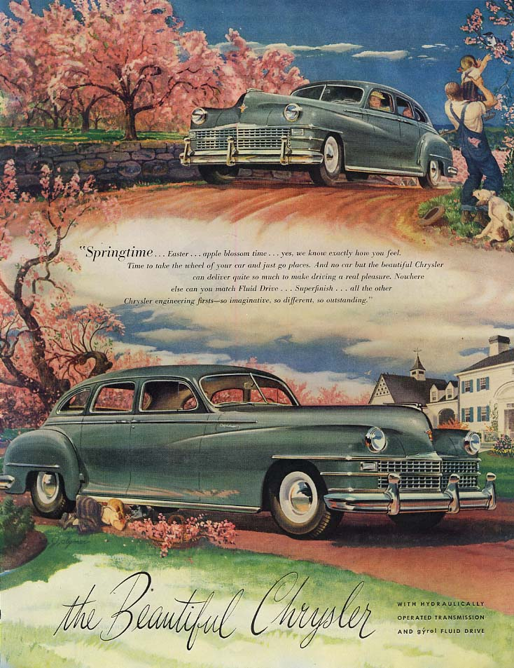 Image for Springtom - Easter - apple blossom time The Beautiful Chrysler ad  1947 SEP