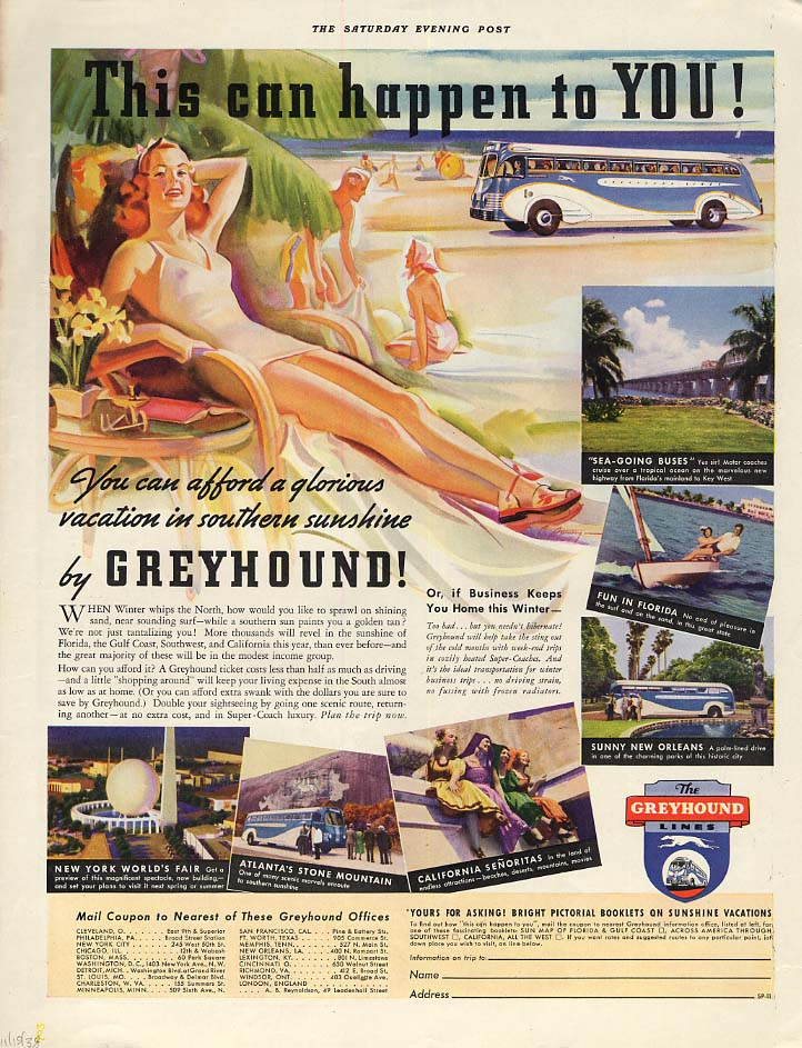 Image for This can happen to YOU! Greyhound Bus ad 1938 redhead swimsuit SEP