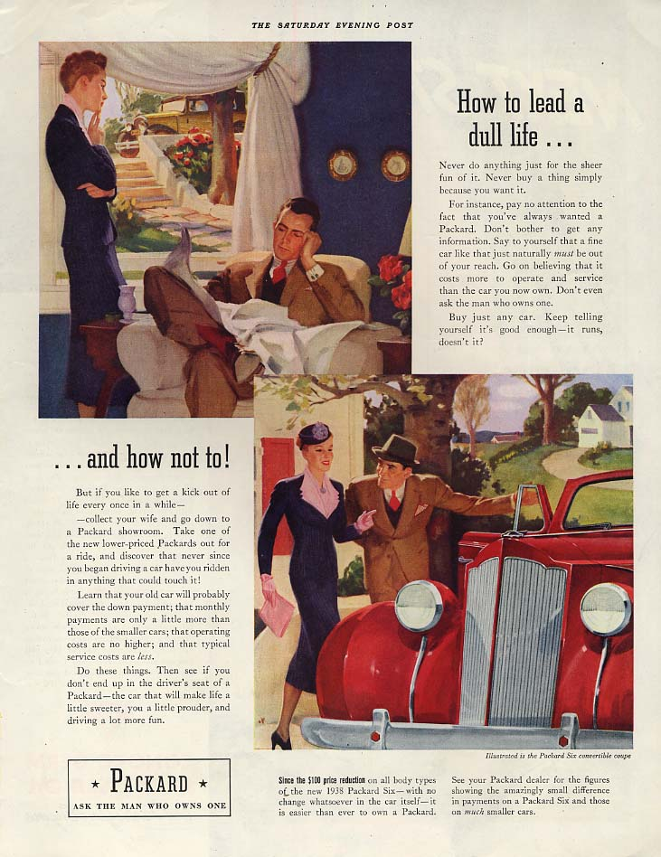 How to lead a dull life and how not to! Packard Six Convertible Coupe ad 1938 P